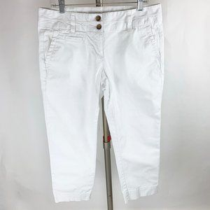 Lands' End Mid-Rise White Stretch Crop Chinos 10